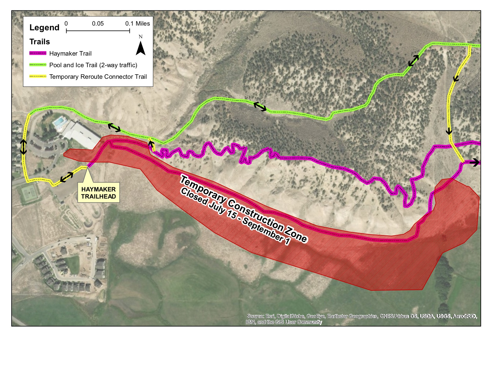 Above is a map of reroutes to the Haymaker Trail. Reroutes will be effective July 15-September 1, 2019.