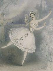 Carlotta Grisi, wearing a romantic tutu, as Giselle, 1841