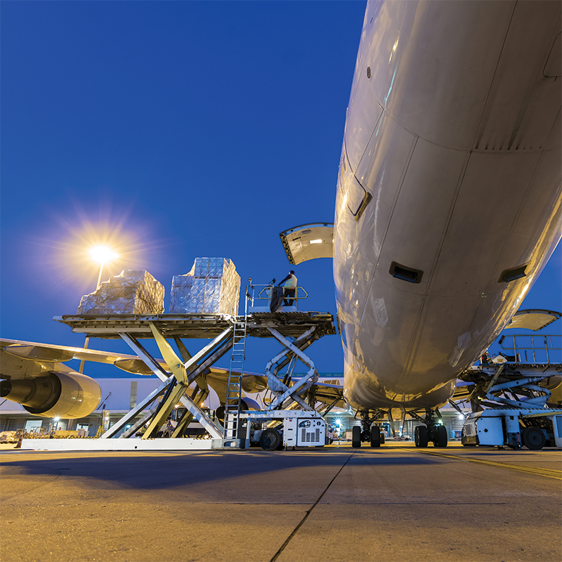 A cargo aeroplane being unloaded