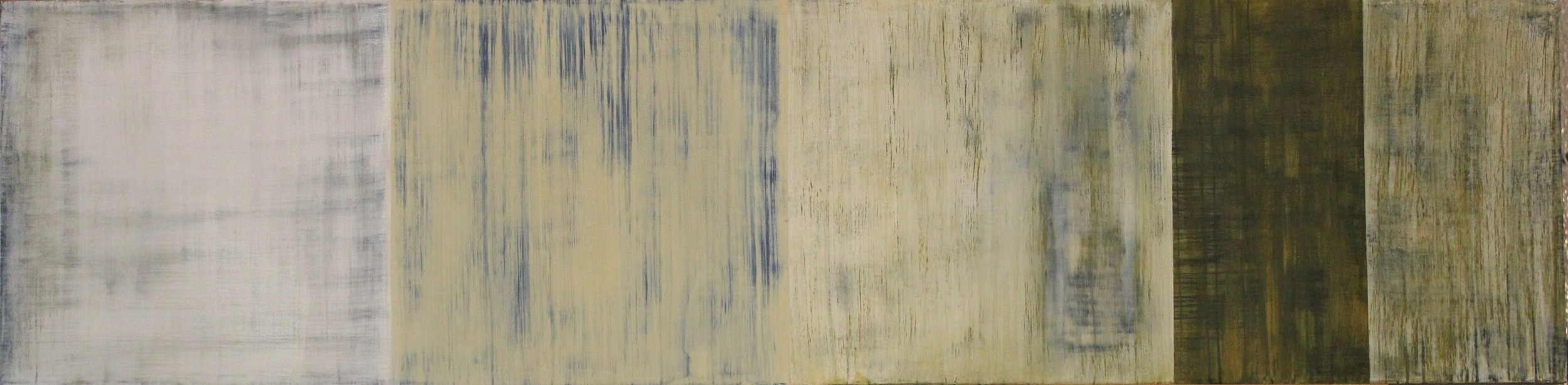 """Shifting Thought. Oil and wax on panel. 15"""" x 60"""". Private collection."""