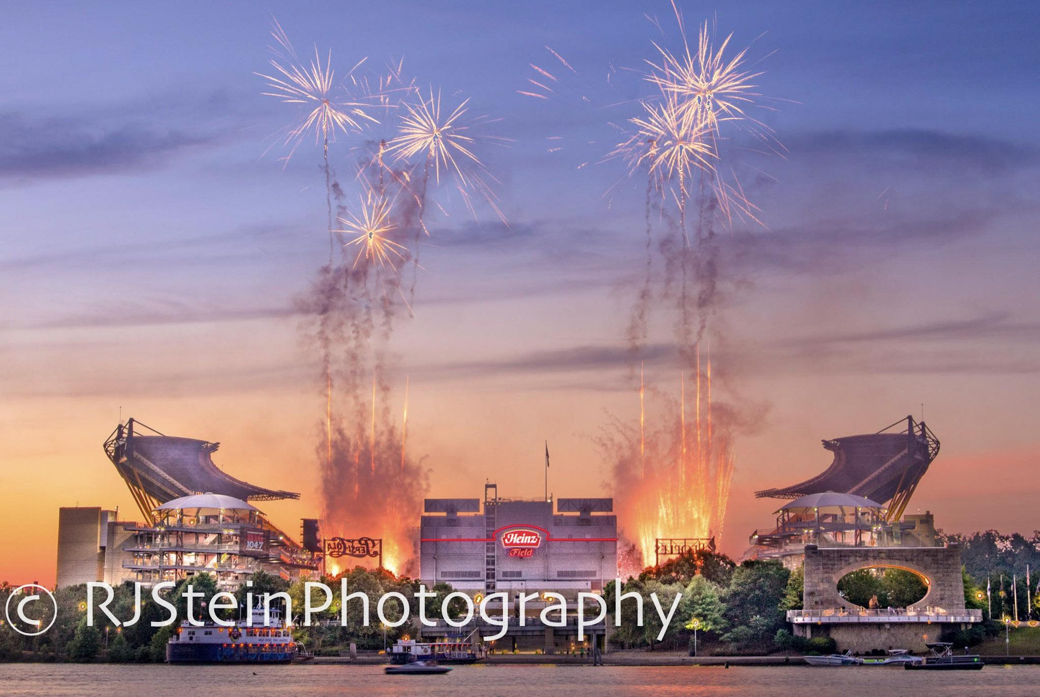 heinz field fireworks, pittsburgh, 2018