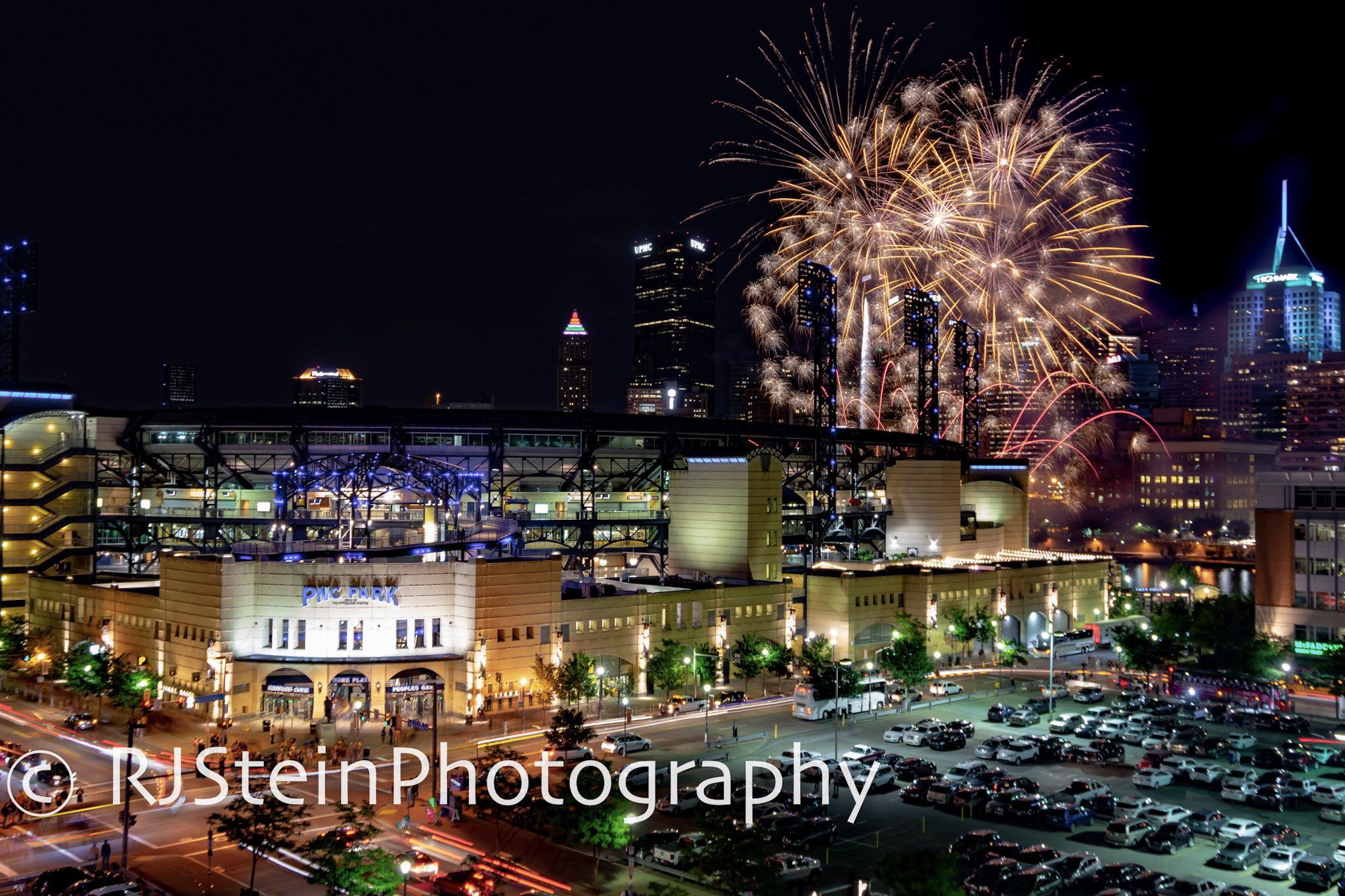 pnc park fireworks in gold, pittsburgh, pa