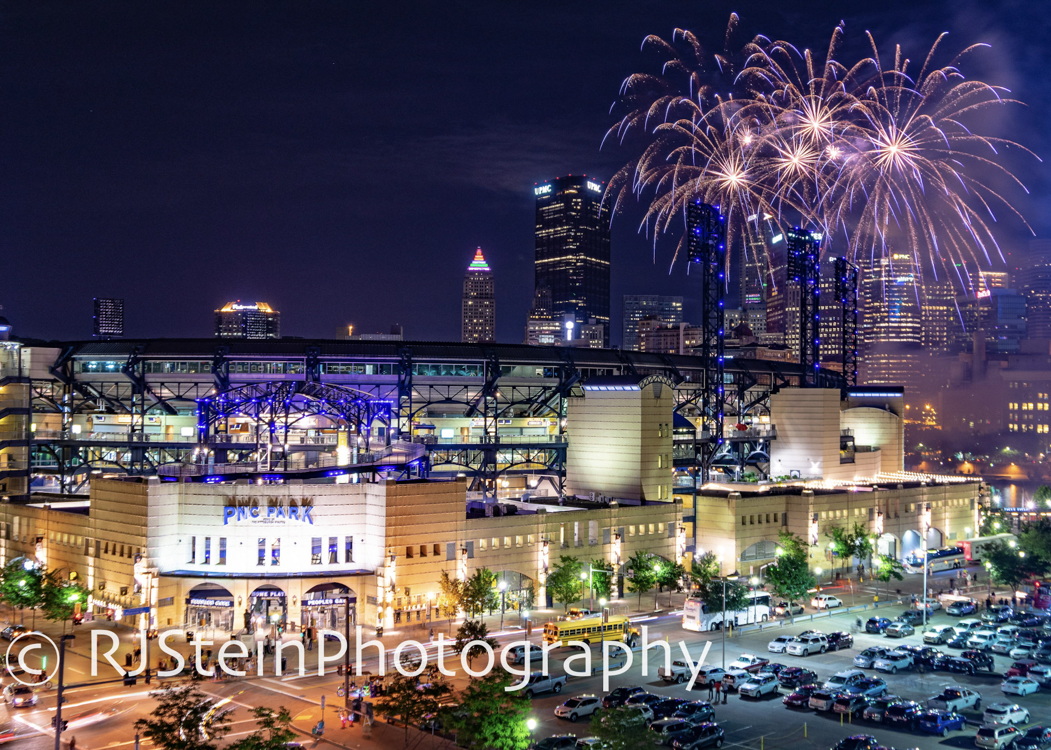 pnc park fireworks in blue, pittsburgh, 2018