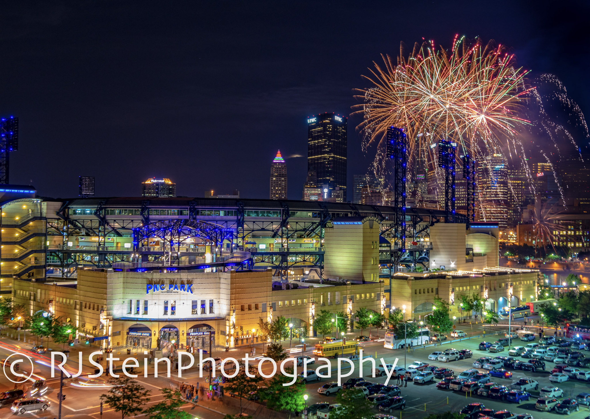 pnc park fireworks in red, pittsburgh, 2018