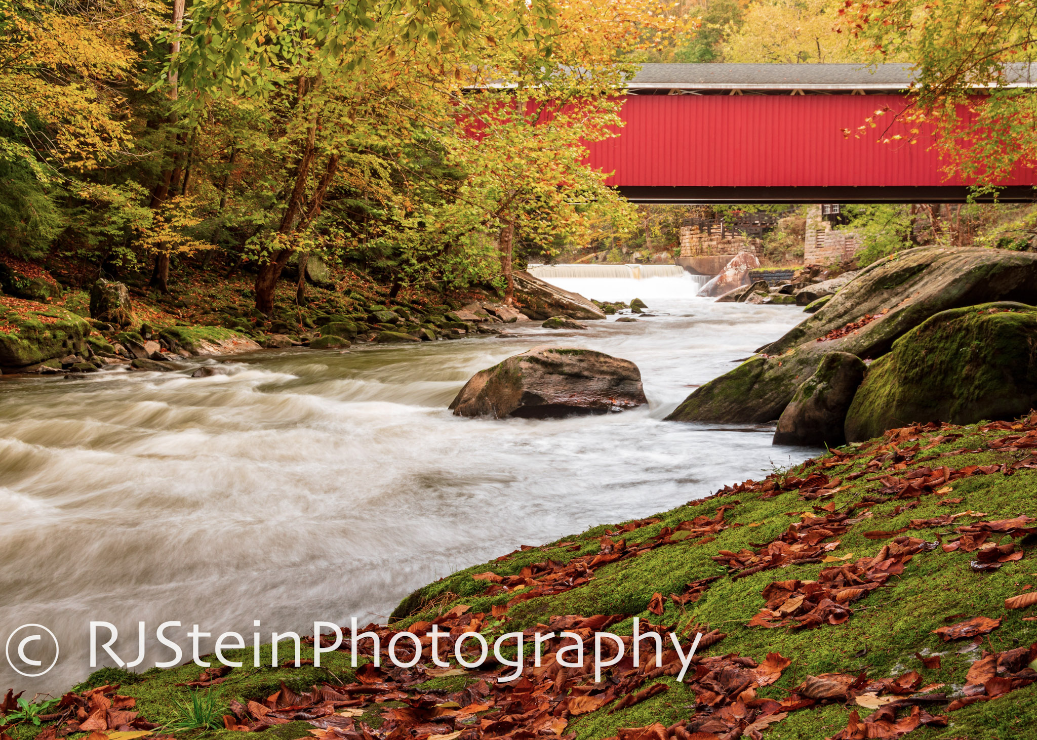 mcconnell's mills covered bridge in fall, pennslyvania, 2018
