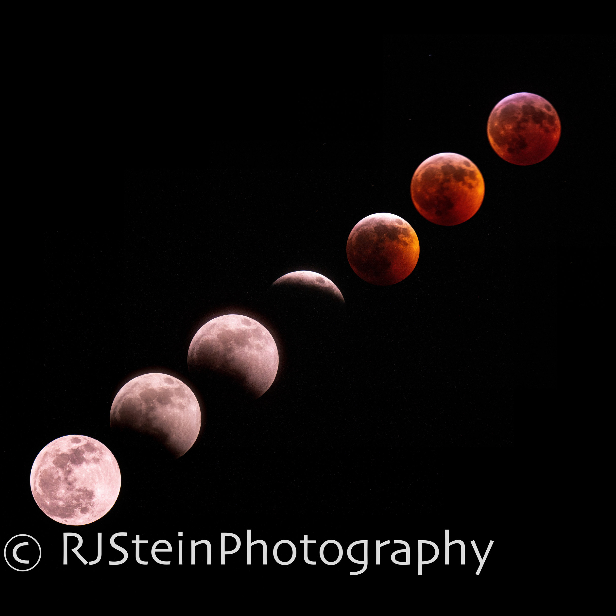 blood wolf moon lunar eclipse sequence, pennslyvania, 2019