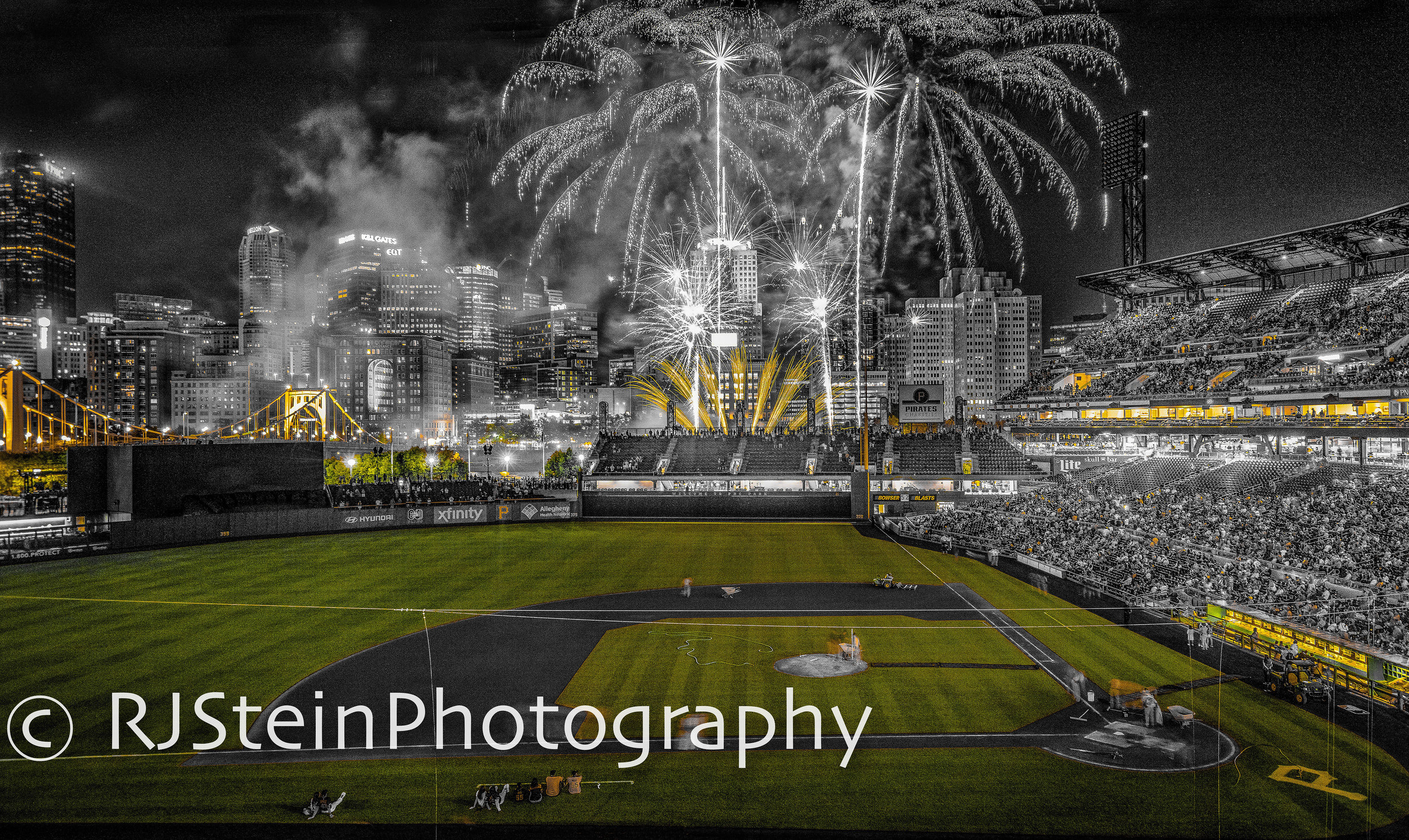 inside the park fireworks black and gold, pittsburgh, 2019