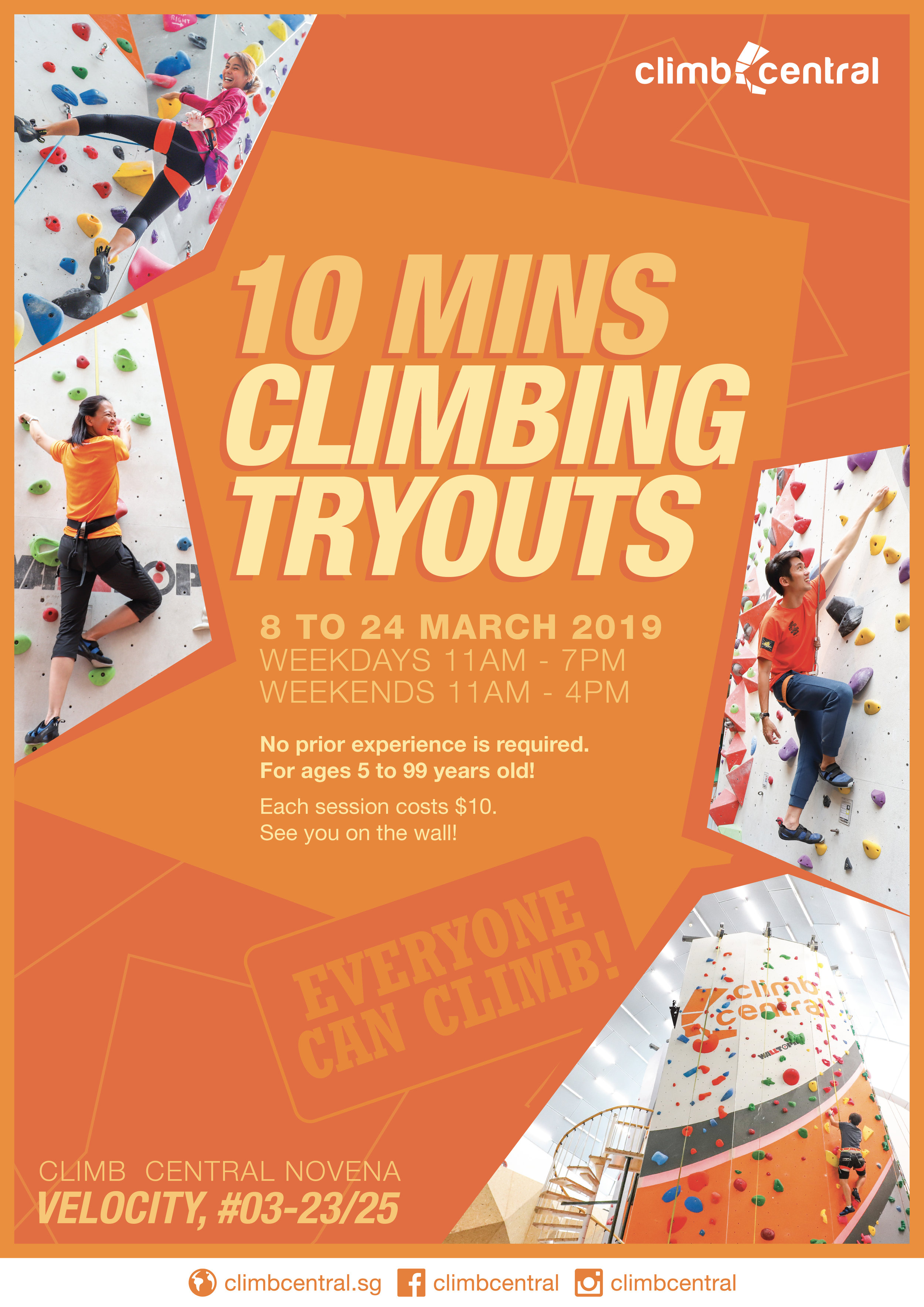 Climb Central Novena - 10 mins climbing tryouts