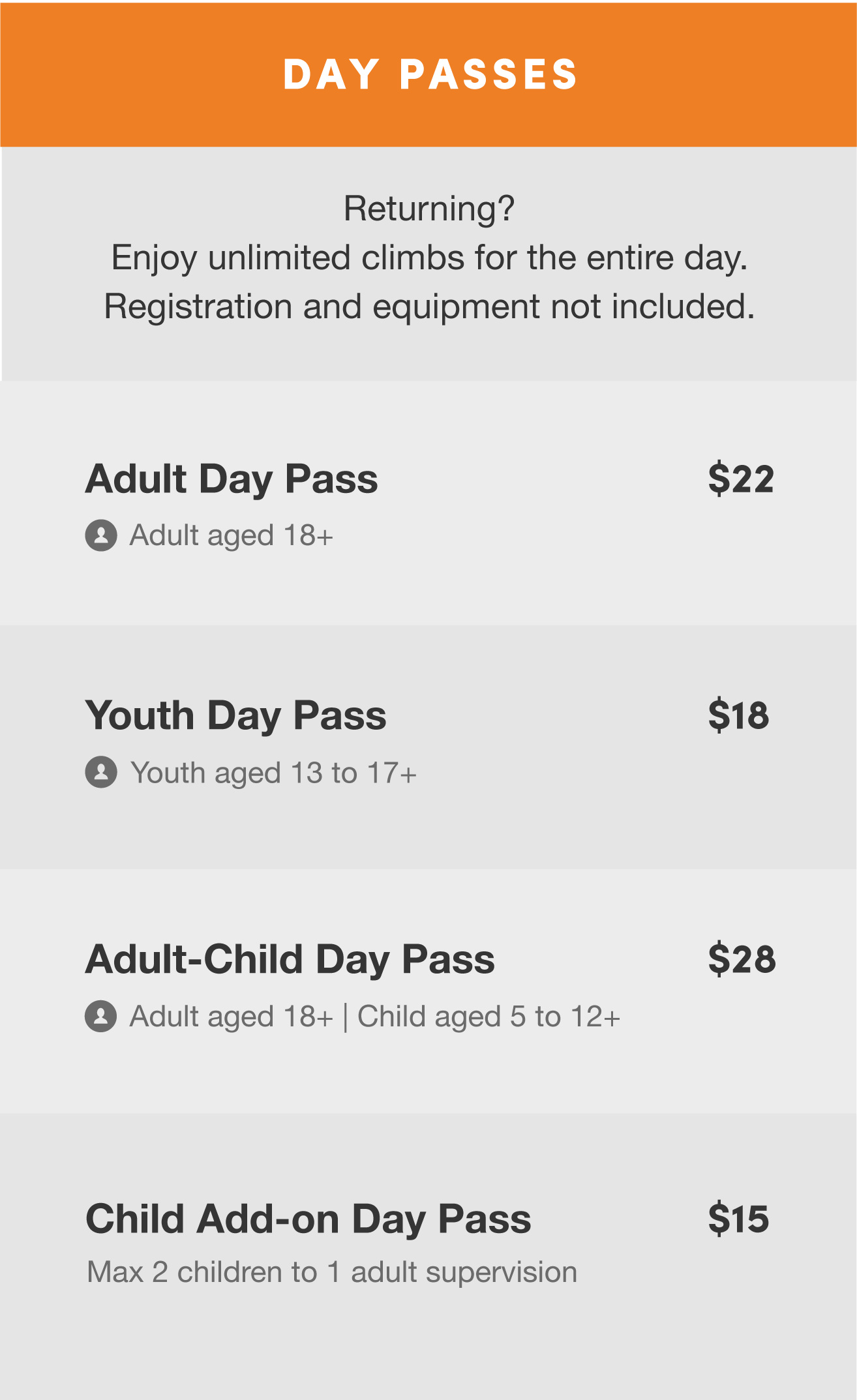 Climb Central Rates Day Passes