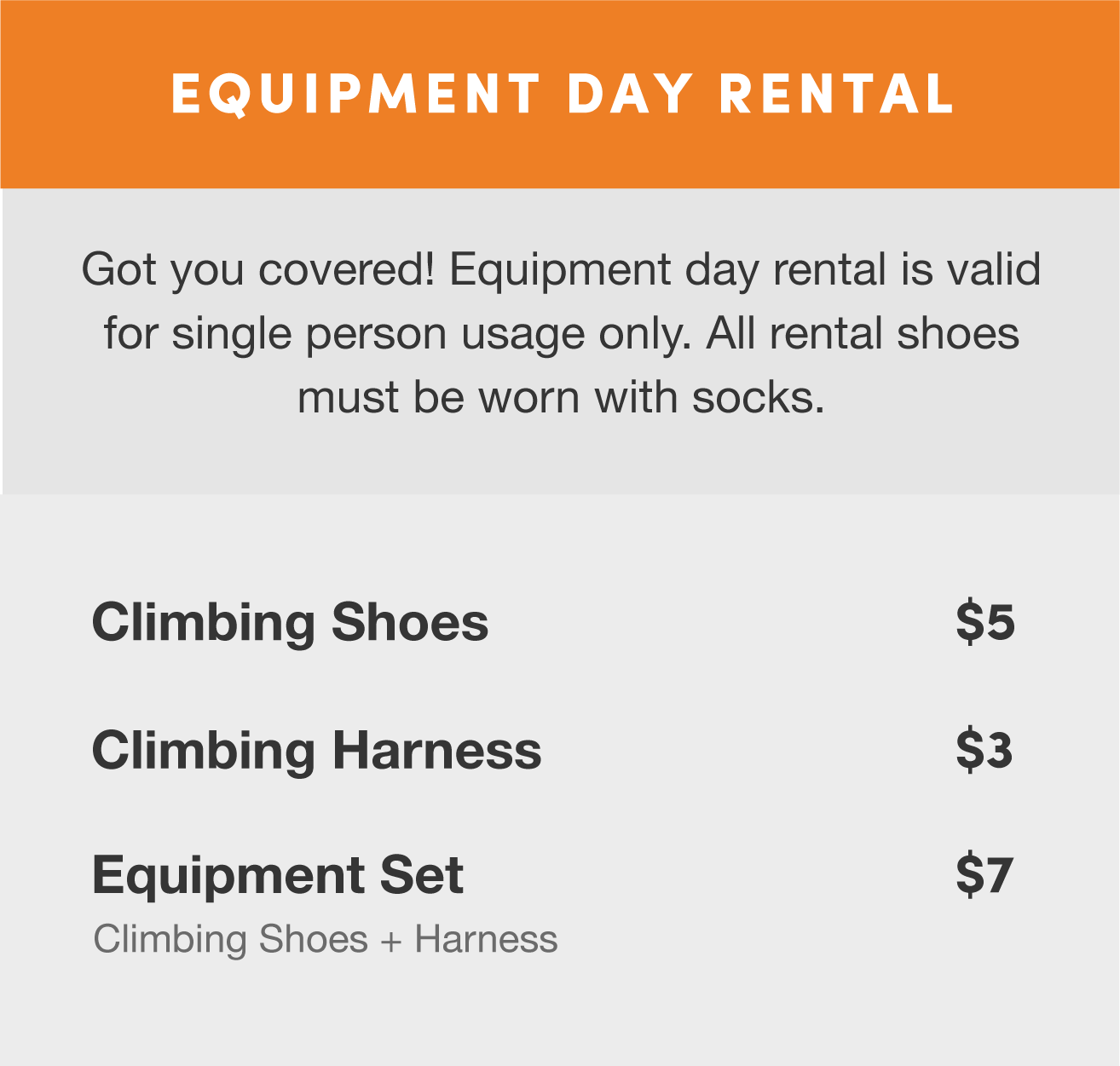 Climb Central Rates Equipment Day Rental