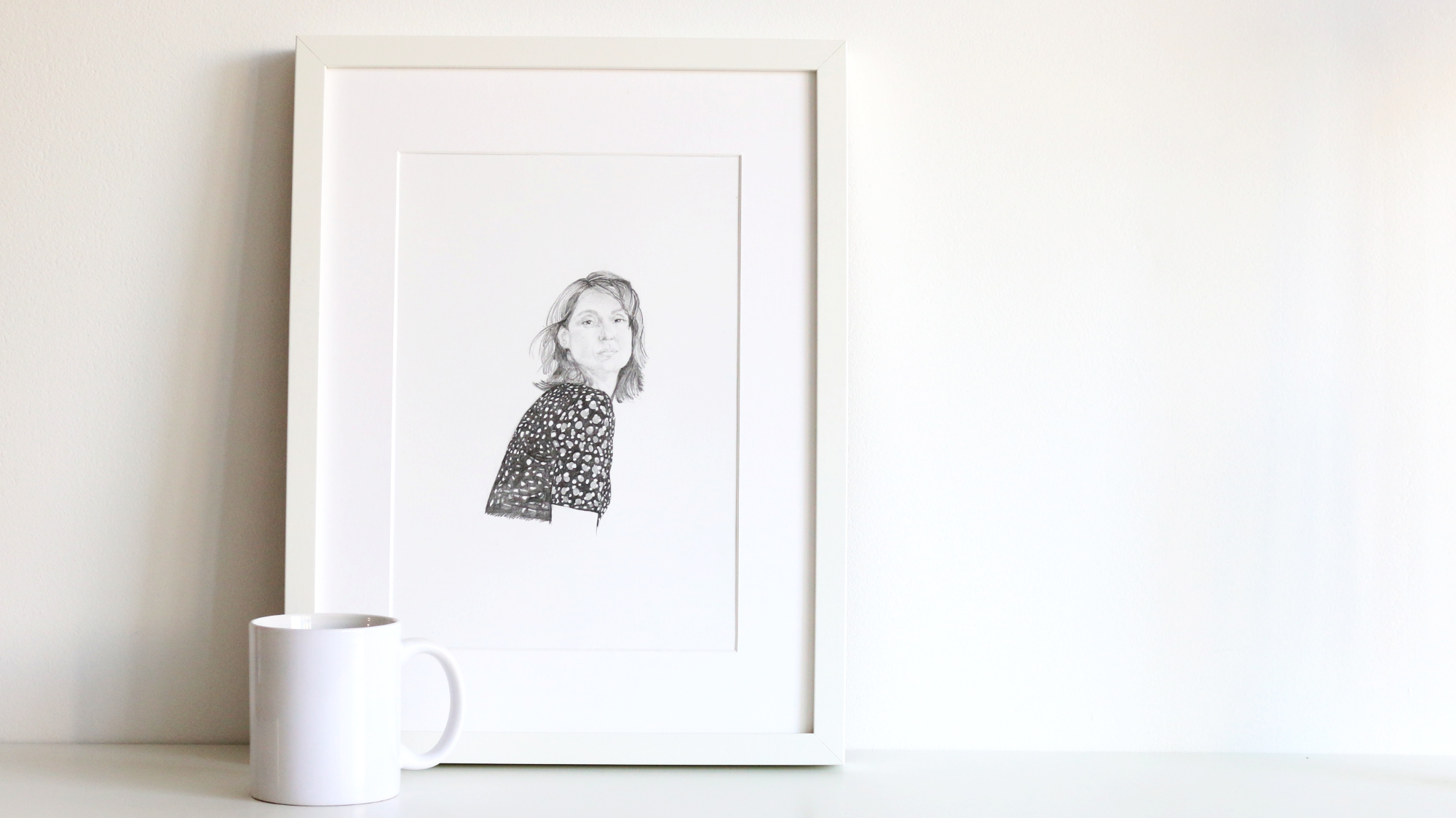 The final drawing is ready to frame or gift |  Self-Portrait in a Dotted Dress , by The Daily Atelier
