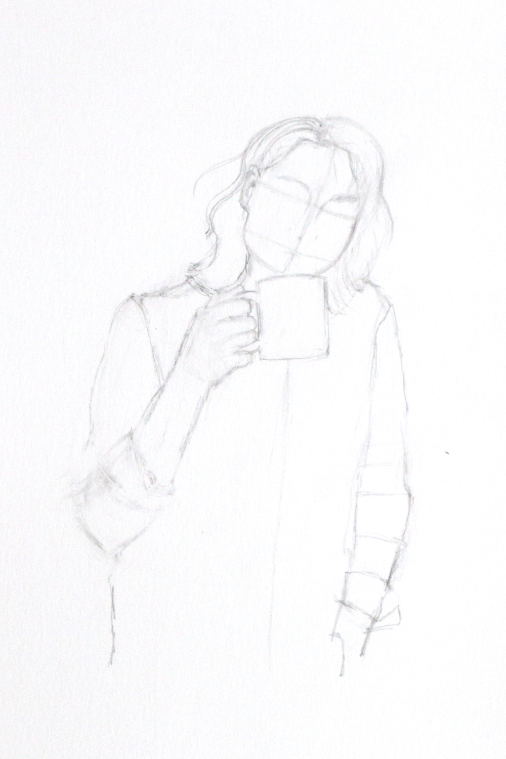 Sketch of a woman drinking in a mug. In the first step of this project, I begin with laying out the basic shapes of the body and face. |  Self-Portrait with a Mug , by The Daily Atelier