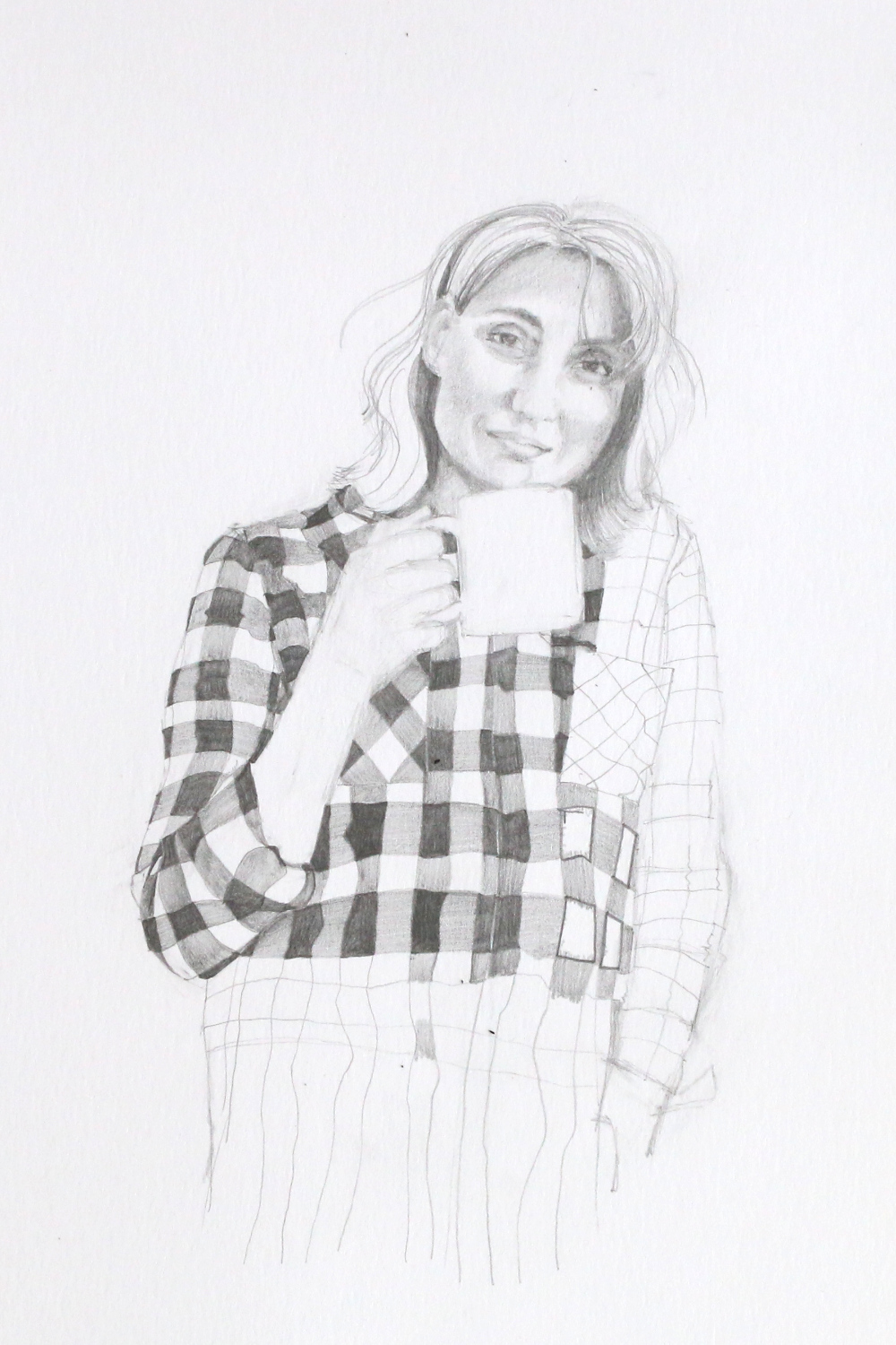Sketch of a woman drinking in a mug, the face is drawn with details and the checked shirt is partly drawn. In the third step of the project, I draw the checked shirt. |  Self-Portrait with a Mug , by The Daily Atelier
