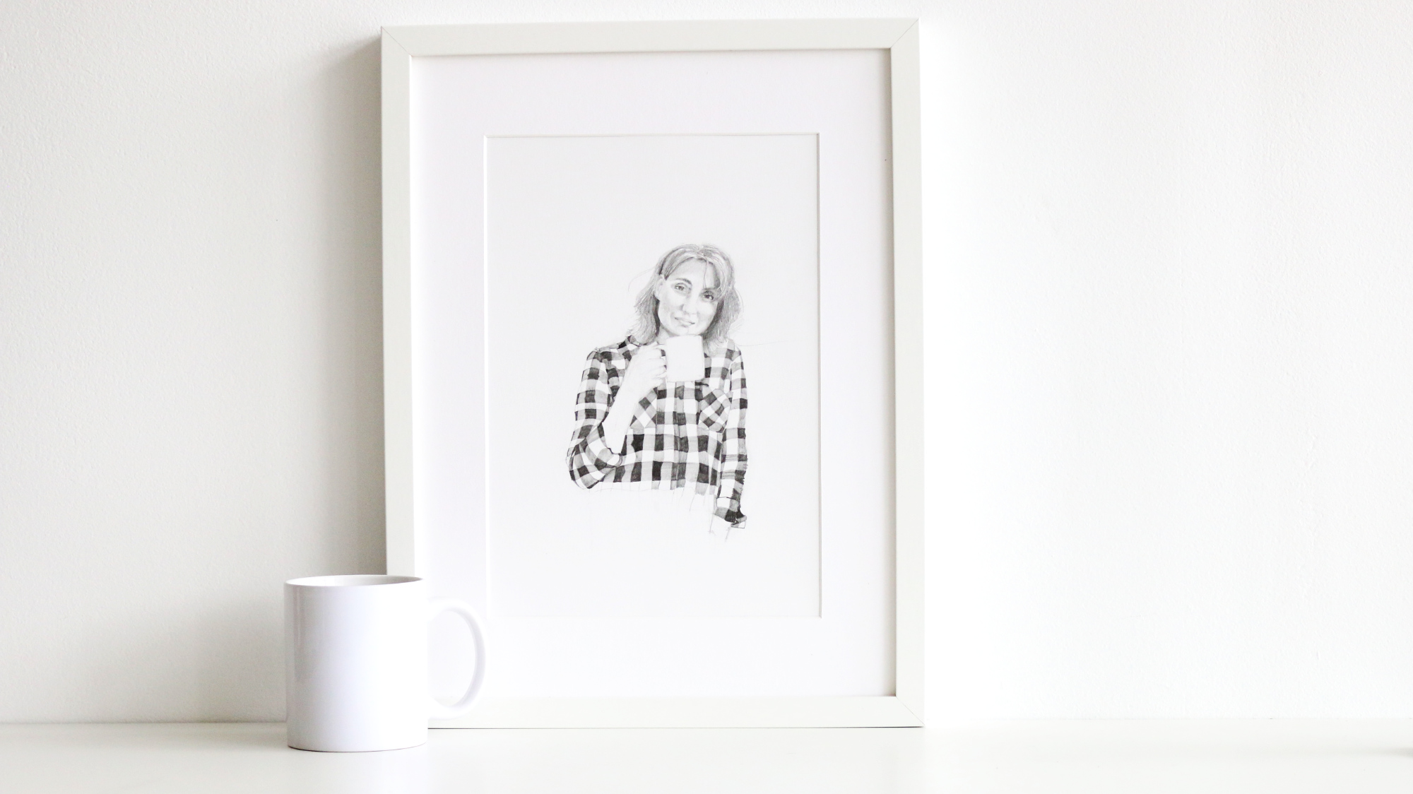 The finished drawing is ready to frame or gift |  Self-Portrait with a Mug , by The Daily Atelier