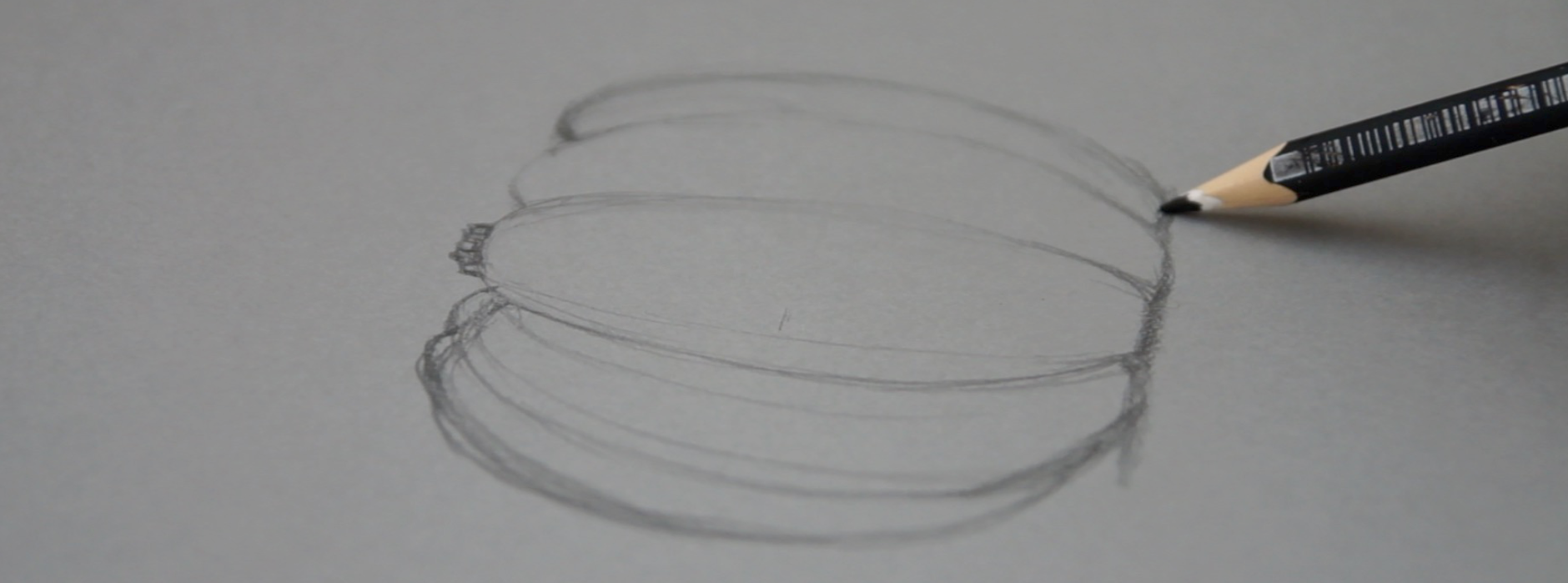 First sketch of a pumpkin on grey paper |  Drawing a Pumpkin and Creating a Sweater , by The Daily Atelier