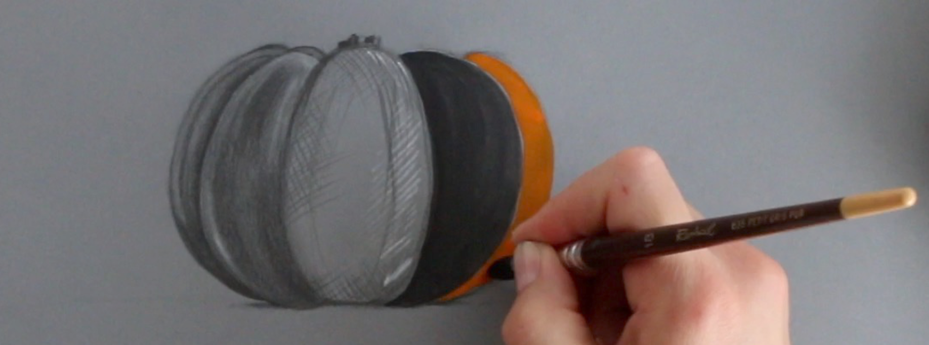 Step 3 is about painting the pumpkin with gouache |  Drawing a Pumpkin and Creating a Sweater , by The Daily Atelier