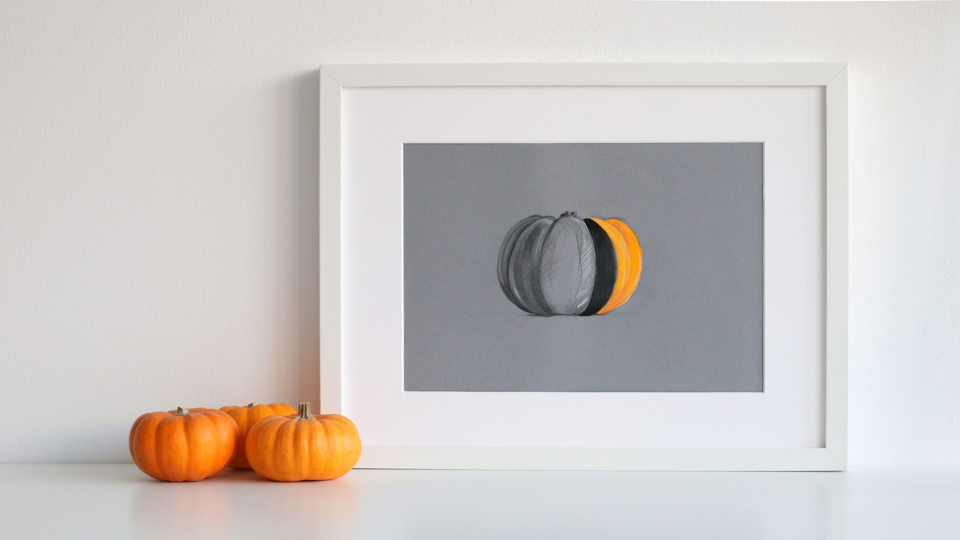 The finished drawing belongs to a beautiful autumnal interior |  Drawing a Pumpkin and Creating a Sweater , by The Daily Atelier