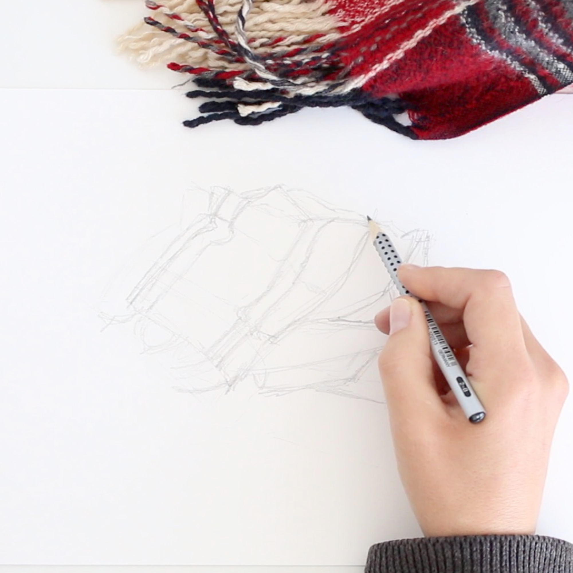 A first sketch of the scarf. In the first step of this project, I draw the scarf as an arrangement of abstract shapes. This time, they really are! |  So Ready for Autumn , by The Daily Atelier