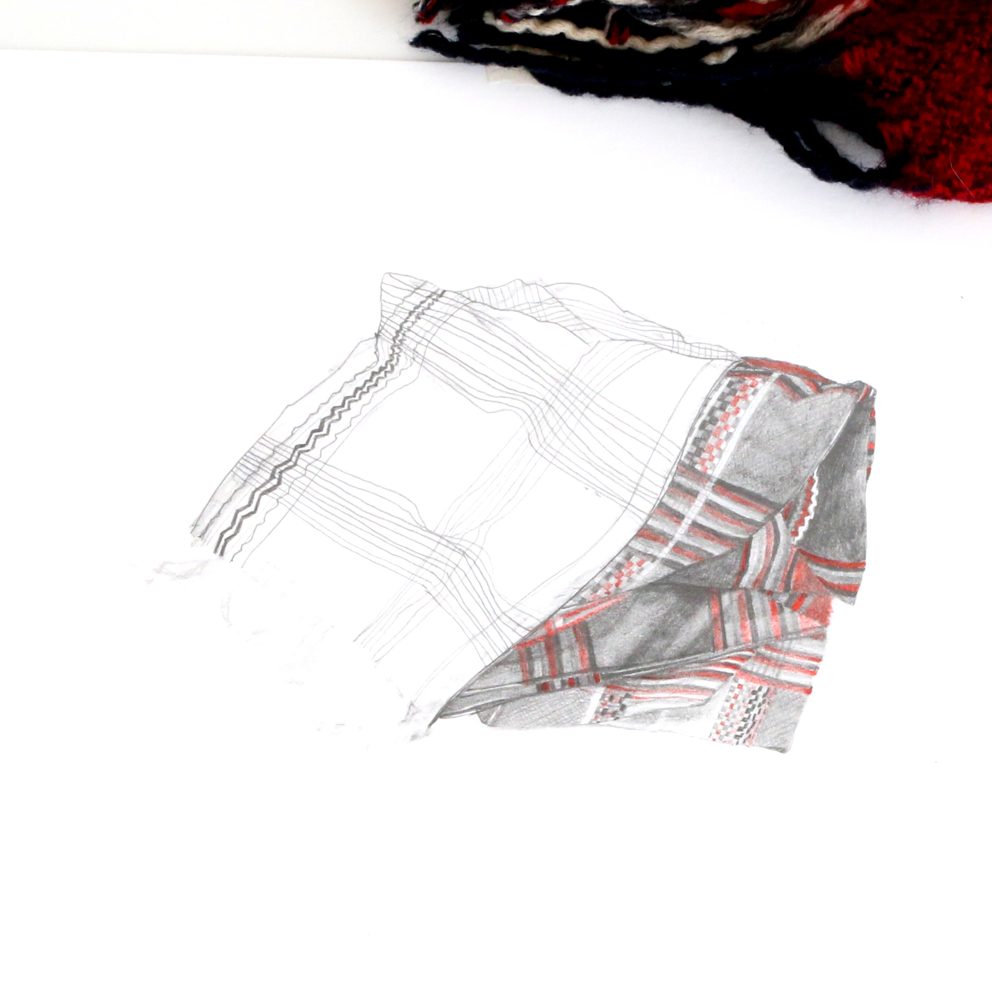 Sketch of the scarf, with patterns and coloured pencil |  So Ready for Autumn , by The Daily Atelier