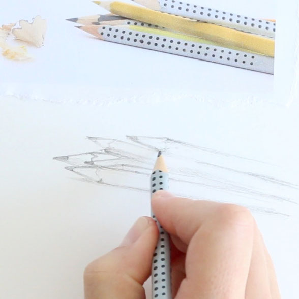 In the first step, I draw the outline of the pencils |  Back to School , by The Daily Atelier