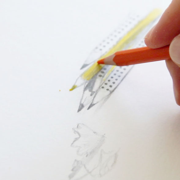 In the last step, I draw the pencils with a touch of colour |  Back to School , by The Daily Atelier