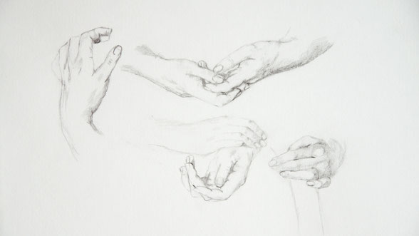In the last step, I want back to each hand and added more details and shading |  Studying Hands with Pencil , by The Daily Atelier