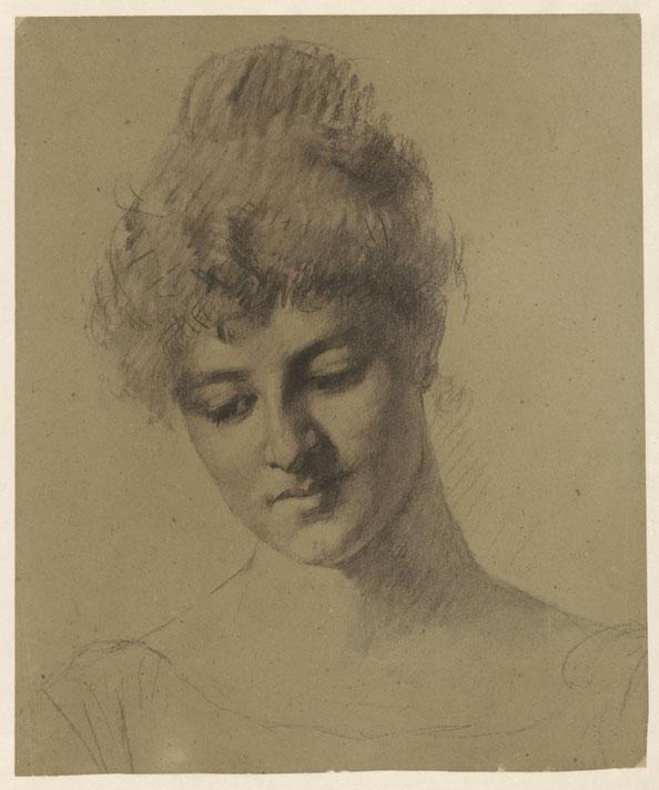 Fortunati, een Italiaans model,  Thérèse Schwartze, 1861 - 1918. Chalk on paper. A.C. Gijswijt Bequest, Amsterdam. Rijksmuseum.