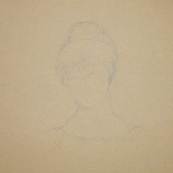 First, I quickly sketch the portrait, observing Thérèse Schwarte's work as closely as possible |  Sketching a 19th-Century Portrait , by The Daily Atelier