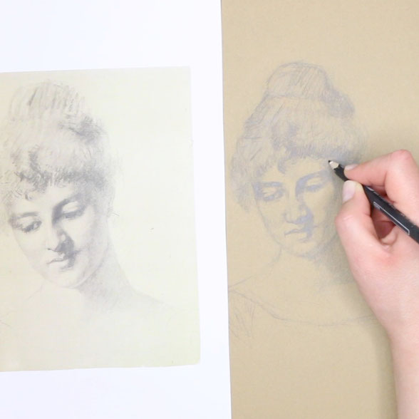 This step is about refining the sketch using my method of looking at the picture as a set of abstract shapes |  Sketching a 19th-Century Portrait , by The Daily Atelier