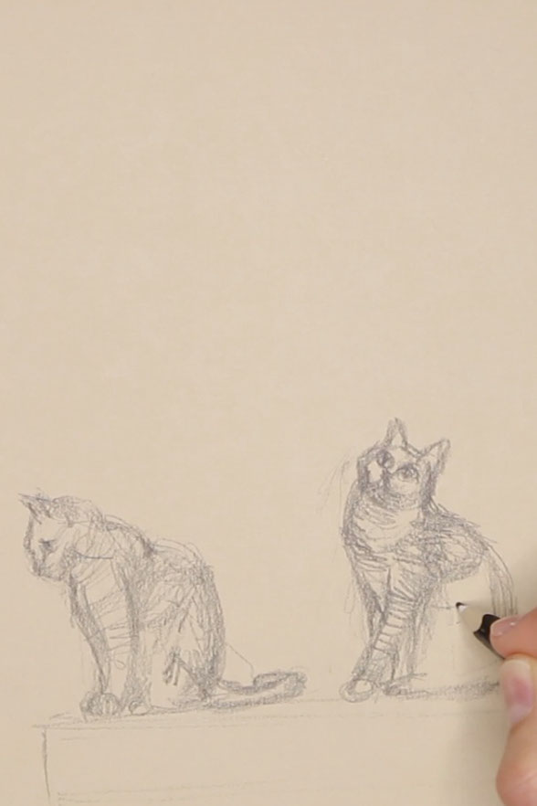 Sketch of the second cat    Sketching a Cat à la Manet , by The Daily Atelier