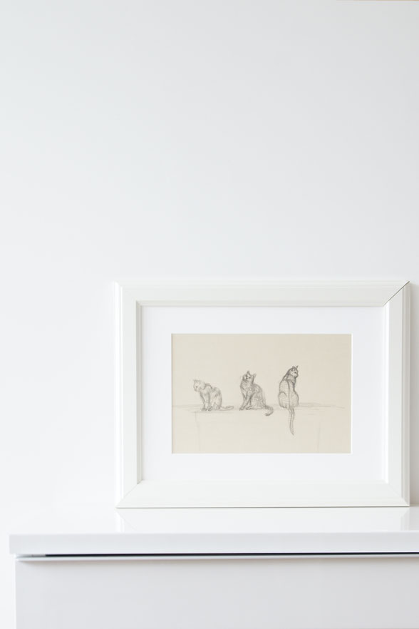 The finished drawing is ready to frame or gift    Sketching a Cat à la Manet , by The Daily Atelier