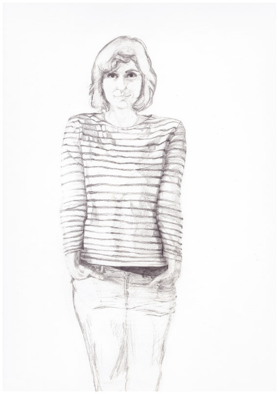 My first drawing of a breton shirt with pencil, for my  About  page
