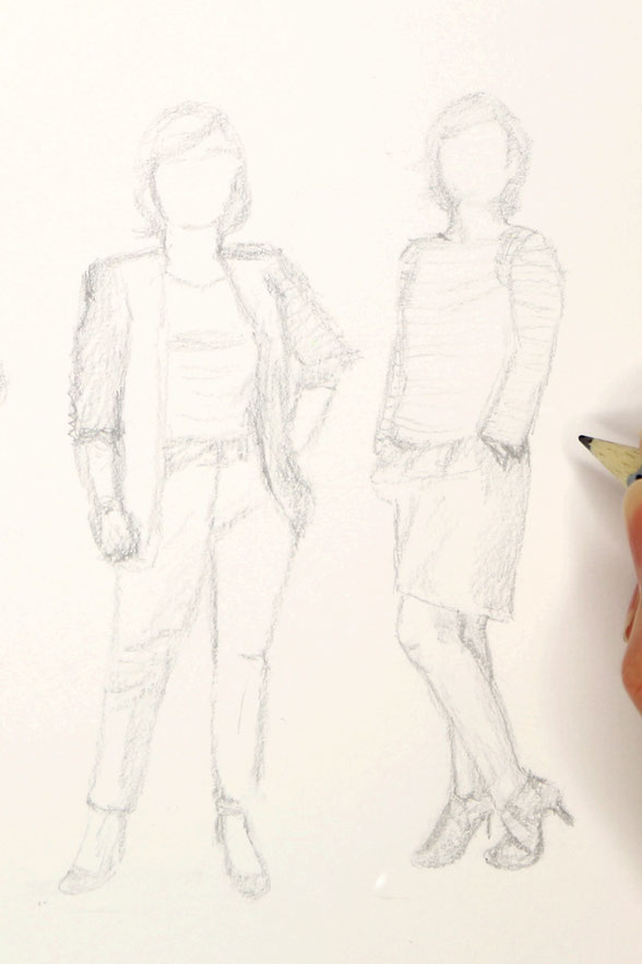 The first quick sketch of the seven figures |  7 Ways to Wear a Breton Shirt , by The Daily Atelier