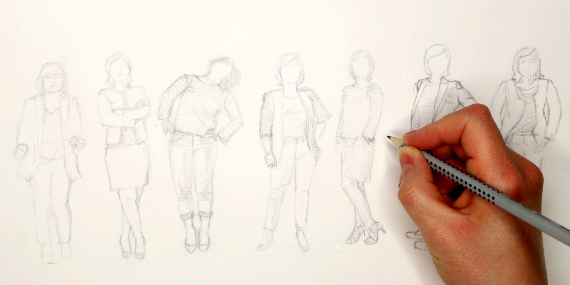 The sketch of the 7 figures with breton shirts, with pencil |  7 Ways to Wear a Breton Shirt , by The Daily Atelier