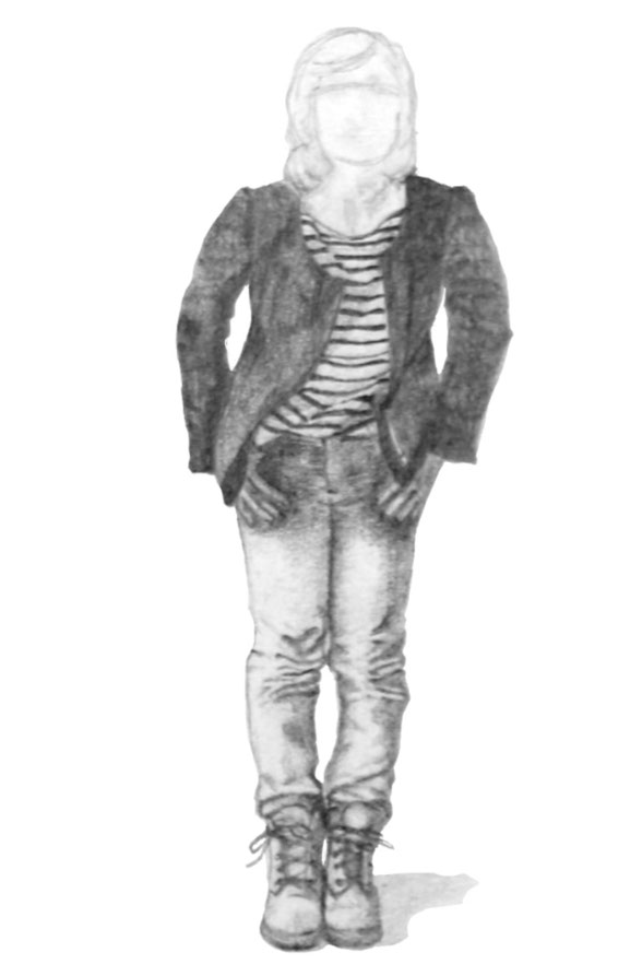 Step 2 is about drawing all the details with pencil, including the striped shirts. This is one of the finished figures |  7 Ways to Wear a Breton Shirt , by The Daily Atelier