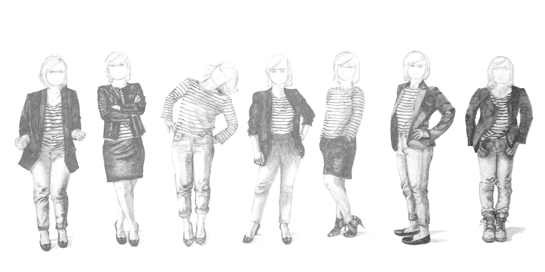 Step 2 is about drawing all the details with pencil, including the striped shirts, for the 7 figures|  7 Ways to Wear a Breton Shirt , by The Daily Atelier