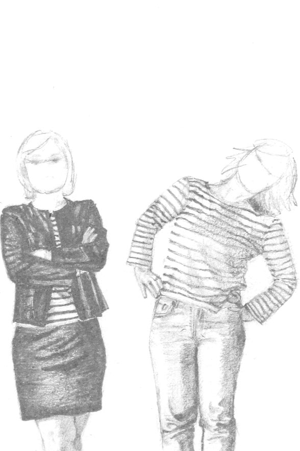 Step 3 is about choosing how to draw the faces. Two figures with roughly sketched faces. |  7 Ways to Wear a Breton Shirt , by The Daily Atelier