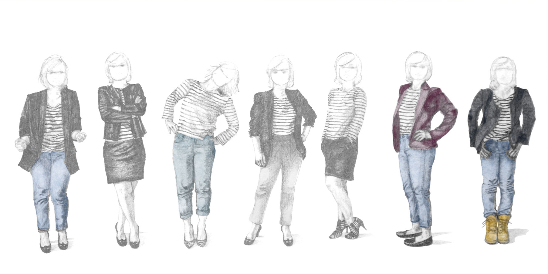 Step 3 is about choosing how to draw the faces. 7 figures with roughly sketched faces. |  7 Ways to Wear a Breton Shirt , by The Daily Atelier