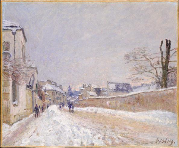Alfred Sisley (British, Paris 1839–1899 Moret-sur-Loing),  Rue Eugène Moussoir at Moret: Winter , oil on canvas, The Metropolitan Museum of Art, New York, Bequest of Ralph Friedman, 1992.