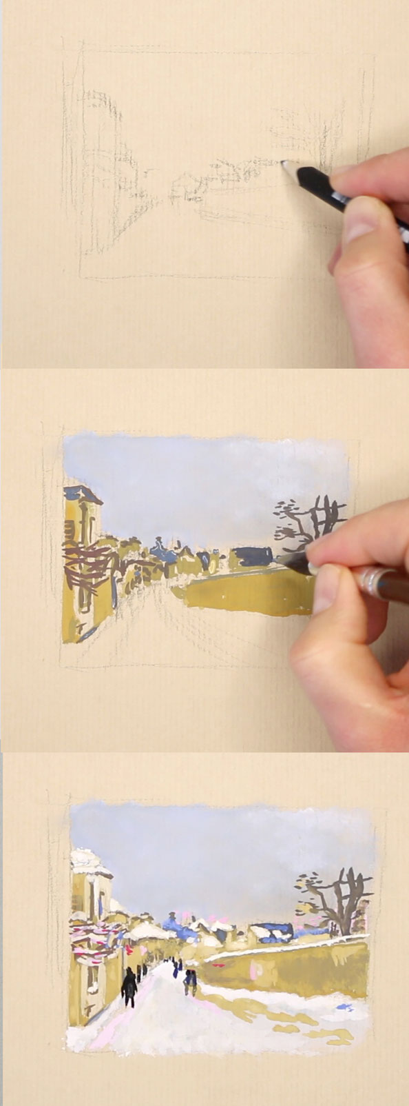 3 steps to draw a quick sketch of a winter landscape with gouache after Sisley |  Drawing a Winter Scene: 3 Studies after Sisley , by The Daily Atelier