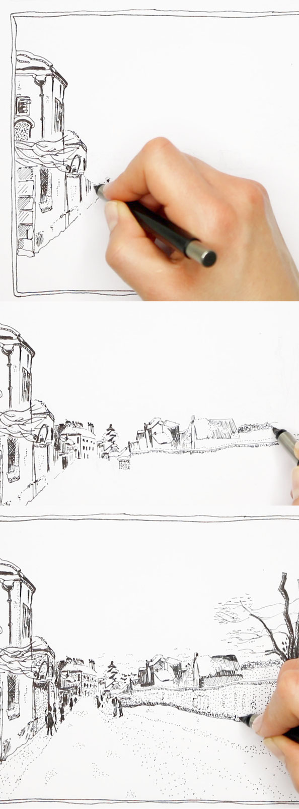 3 steps to draw a quick sketch of a winter landscape with ink after Sisley |  Drawing a Winter Scene: 3 Studies after Sisley , by The Daily Atelier