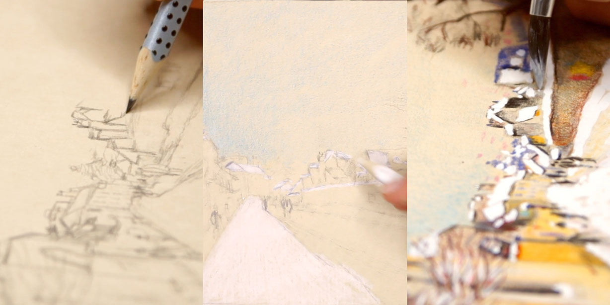 3 steps to draw a quick sketch of a winter landscape with coloured pencils after Sisley |  Drawing a Winter Scene: 3 Studies after Sisley , by The Daily Atelier