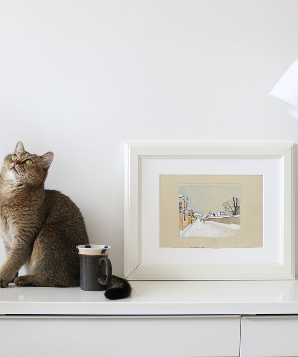 Finished drawing, with my cat |  Drawing a Winter Scene: 3 Studies after Sisley , by The Daily Atelier