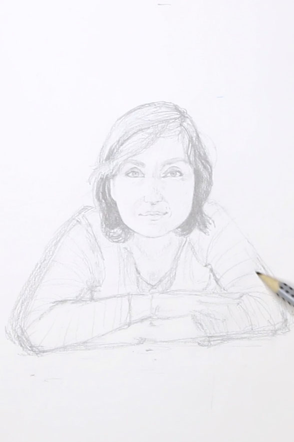 Secondly, I carefully draw the face |  Drawing a Self-Portrait with Pencil , by The Daily Atelier