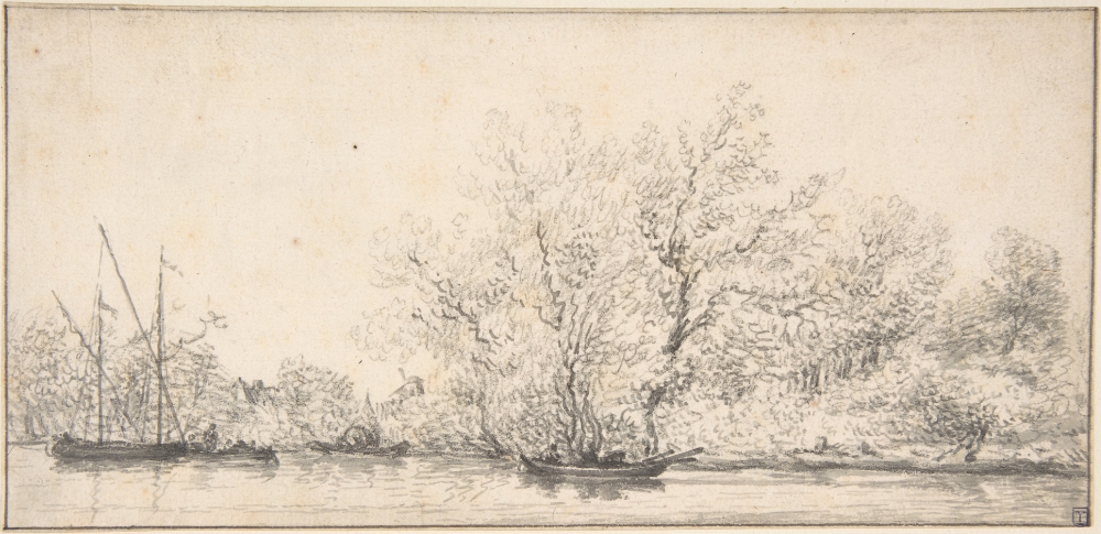 Attributed to Salomon van Ruysdael,  River Scene with Boats before a densely Wooded Bank , 17th century, Black chalk and gray wash, pen and black ink. Framing line in pen & black ink. Metropolitan Museum of Art, New York, Karen B. Cohen Fund, 1994.