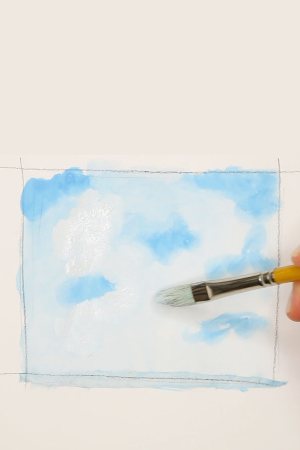 First step: paint the blue sky |  Cloud Study with Birds , by The Daily Atelier
