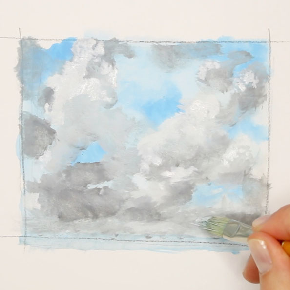 Second step: paint white and grey clouds with gouache |  Cloud Study with Birds , by The Daily Atelier