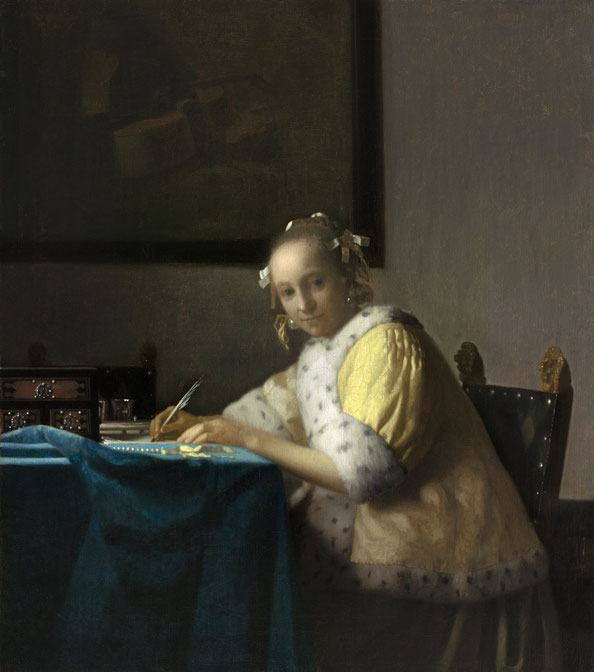 Johannes Vermeer,  A Lady Writing , c. 1665, oil on canvas. National Gallery of Art, Washington DC., gift of Harry Waldron Havemeyer and Horace Havemeyer, Jr., in memory of their father, Horace Havemeyer