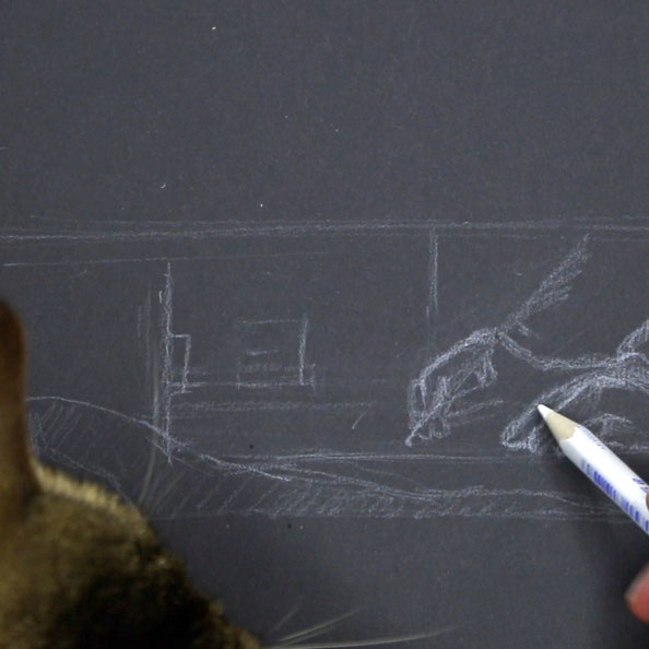 Step 1 is about sketching the detail with with pencil on black paper. I also had a cat inspection … |  Drawing Hands and Jewels after Vermeer , by The Daily Atelier