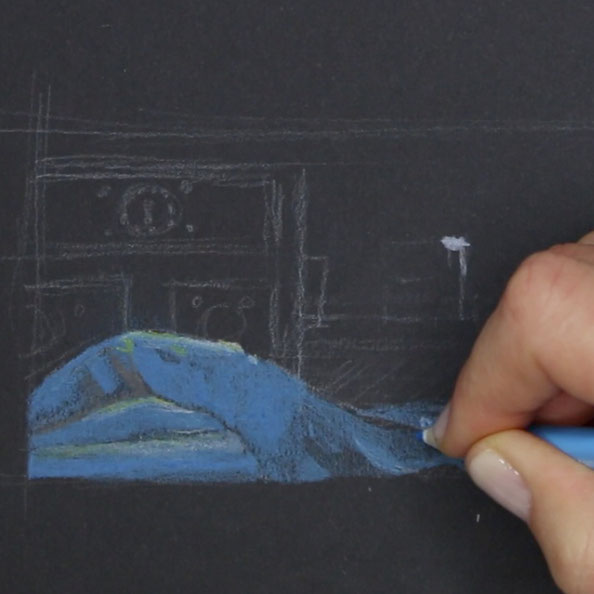 In step 2, I began to add colour with coloured pencils, especially on the blue foreground |  Drawing Hands and Jewels after Vermeer , by The Daily Atelier